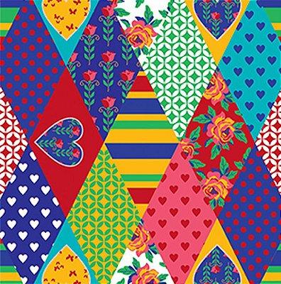 Tecido Tricoline com Estampa de Losangos Coloridos - Preço de 50cm x 150cm