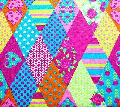 Tecido Tricoline com Estampa de Losangos Color - Preço de 45cm x 150cm