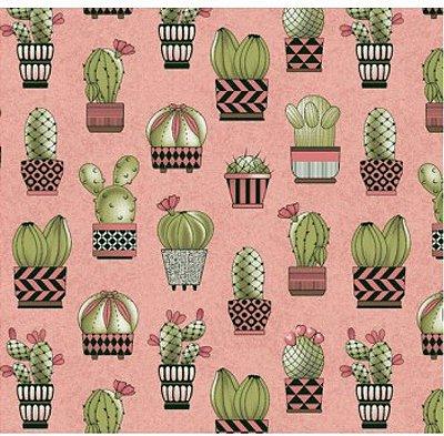 Tecido Tricoline Cactus (Fundo Salmão) - Coleção Viva a Natureza - Corte Mínimo 50 cm X 150