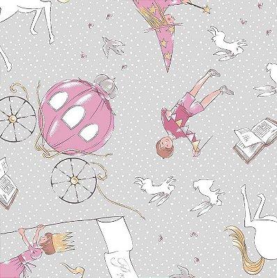 Tecido Tricoline Estampa de Princesa, Príncipe e Carruagem (Fundo Cinza e Rosa) - Coleção Conto de Fada - Preço de 50 cm X 150 cm