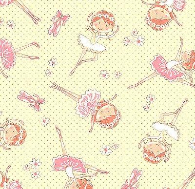 Tecido Tricoline Estampa de Bailarina (Fundo Bege e Rosa) - Preço de 50 cm X 150 cm