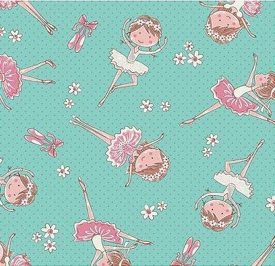 Tecido Tricoline Estampa de Bailarina (Fundo Tiffany e Rosa) - Preço de 50 cm X 150 cm