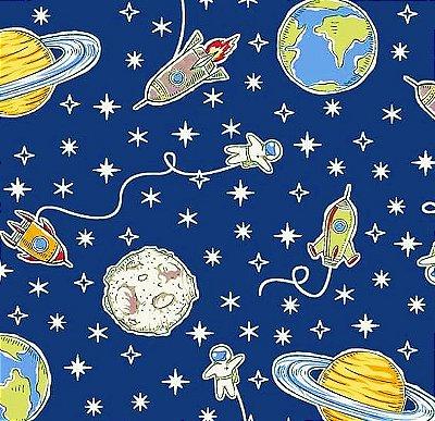 Tecido Tricoline Estampa do Espaço, Foguete e Planeta (Fundo Azul Marinho) - Preço de 50 cm X 150 cm