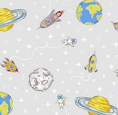 Tecido Tricoline Estampa do Espaço, Foguete e Planeta (Fundo Cinza) - Preço de 50 cm X 150 cm