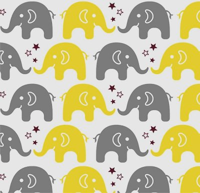 Tecido Tricoline Estampa de Elefante Cinza e Amarelo - Preço de 50 cm X 150 cm