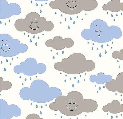 Tecido Tricoline Estampa de Nuvens Azul e Cinza - Preço de 50 cm X 150 cm