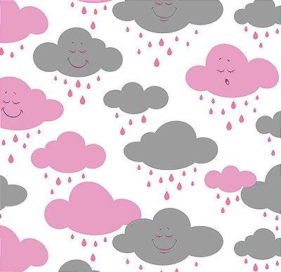 Tecido Tricoline Estampa de Nuvens Rosa e Cinza - Preço de 50 cm X 150 cm