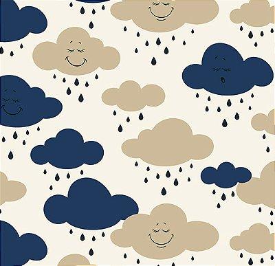 Tecido Tricoline Estampa de Nuvens Azul Marinho e Bege - Preço de 50 cm X 150 cm