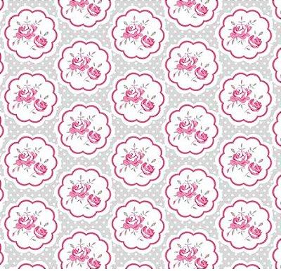 Tecido Tricoline  Estampa Floral Hilda Rosa (Fundo Cinza) - Preço de 50 cm X 150 cm