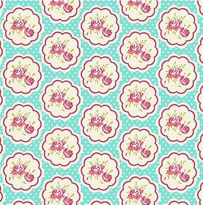 Tecido Tricoline  Estampa Floral Hilda Rosa (Fundo Tiffany) - Preço de 50 cm X 150 cm