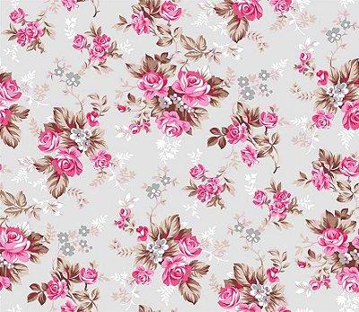 Tecido Tricoline Estampa Floral Íris Rosa (Fundo Cinza) - Preço de 50 cm X 150 cm