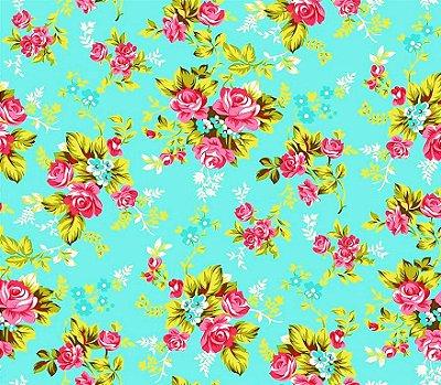 Tecido Tricoline Estampa Floral Íris Rosa (Fundo Tiffany) - Preço de 50 cm X 150 cm
