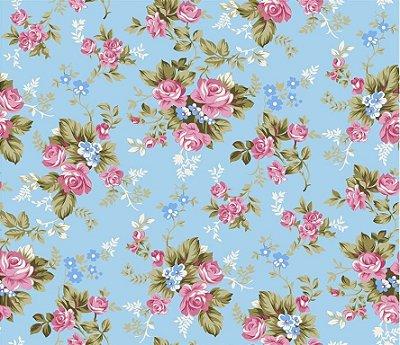 Tecido Tricoline Estampa Floral Íris Rosa (Fundo Azul Claro) - Preço de 50 cm X 150 cm