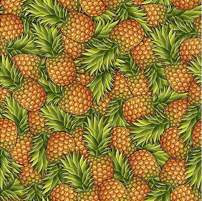 Tecido Estampado Digital - Abacaxis - Coleção Quitanda do Peter Paiva - Preço de 50 cm x 150 cm