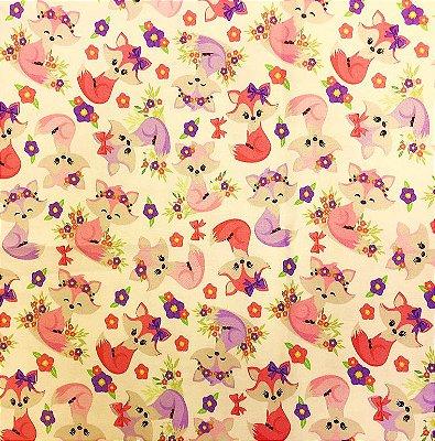 Tecido Estampa Digital - Raposas - Fundo Creme - Preço de 50 cm x 140 cm