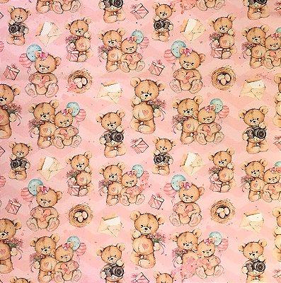 Tecido Estampa Digital - Ursinhas - Fundo Rosa - Preço de 50 cm x 140 cm