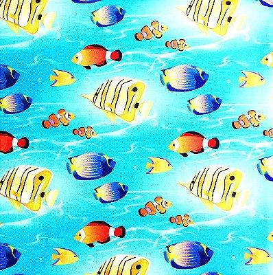 Tecido Estampa Digital - Peixes - Fundo Azul - Preço de 50 cm x 140 cm