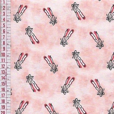Tecido Tricoline Estampado Sapatilha de Bailarina - Fundo Rosa - Preço de 50 cm x 150 cm