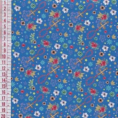 Tecido Digital Estampado Floral e Cruxifixo - Fundo Azul - Preço de 50 cm x 150 cm