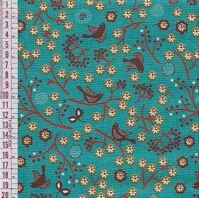 Tecido Tricoline Estampado Galhos e Pássaro - Fundo Jade - Coleção Cosmos - Preço de 50 cm x 150 cm