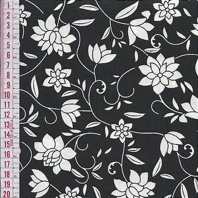 Tecido Tricoline Estampado Floral - Fundo Preto - Coleção Luxuria - Preço de 50 cm x 150 cm