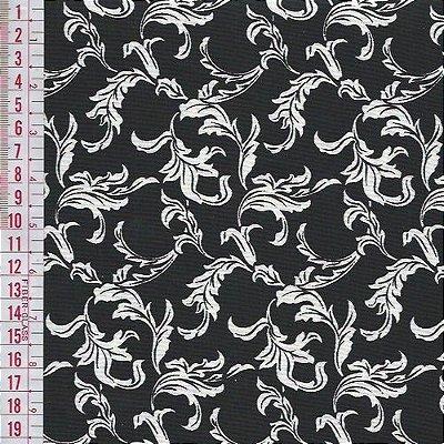 Tecido Tricoline Estampado Folhagem - Fundo Preto - Coleção Luxuria - Preço de 50 cm x 150 cm