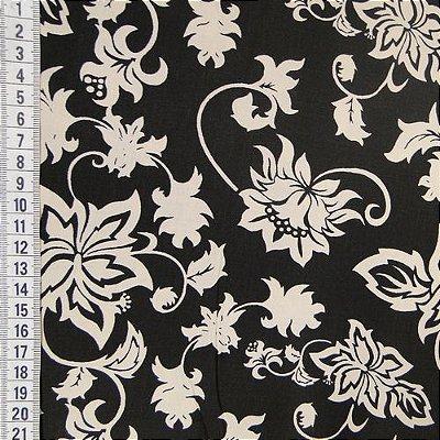 Tecido Tricoline Estampado Floral e Ramos Bege - Fundo Preto - Coleção Vintage - Preço de 50 cm x 150 cm