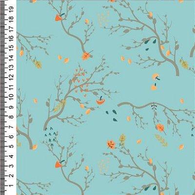 Tecido Digital Estampado Galhos, Cogumelo e Folhas - Fundo Tiffany - Preço de 50 cm x 150 cm