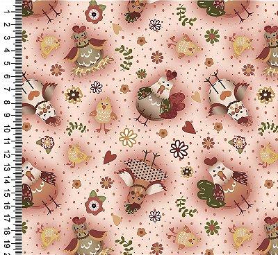 Tecido Digital Estampado Galinhas - Fundo Rosa - Coleção Semaninha - Preço de 50 cm x 150cm