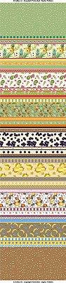Tecido Digital Estampado Barrado de Frutas Brasileiras - Coleção Semaninha - Preço de 50 cm x 150 cm