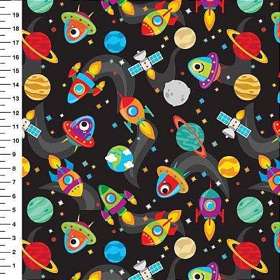 Tecido Digital Estampado Espaço, Foguete, Nave e Planeta - Fundo Preto - Preço de 50 cm x 150 cm
