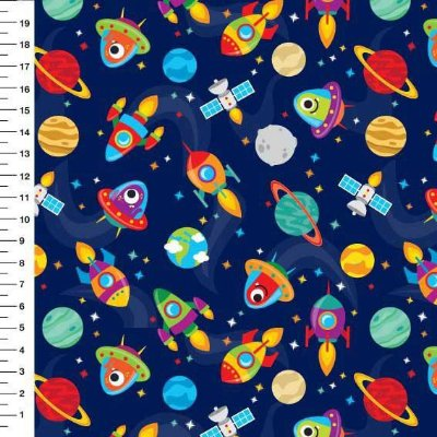 Tecido Digital Estampado Espaço, Foguete, Nave e Planeta - Fundo Azul Marinho - Preço de 50 cm x 150 cm