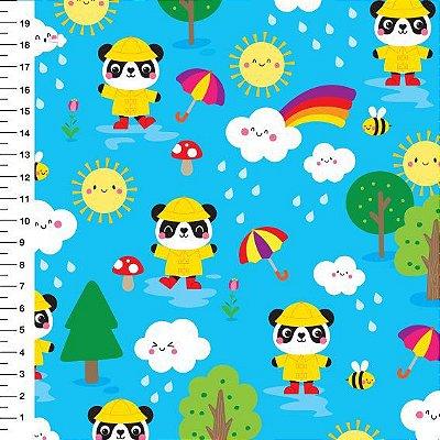 Tecido Digital Estampado Panda e Chuva - Fundo Azul - Preço de 50 cm x 150 cm