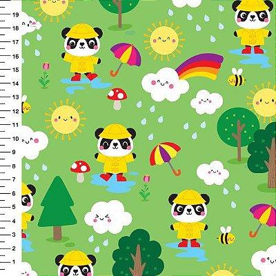 Tecido Digital Estampado Panda e Chuva - Fundo Verde - Preço de 50 cm x 150 cm