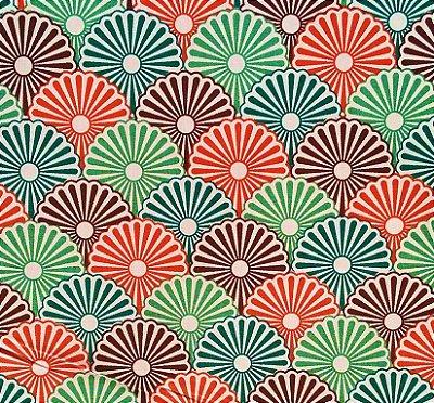 Tecido Tricoline Estampa Leque Floral - Verde, Marrom e Laranja - Preço de 50cm x 150cm
