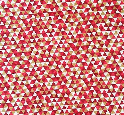 Tecido Tricoline Estampa Triângulos Coloridos - Caqui, Vinho e Vermelho - Preço de 50 cm x 150 cm