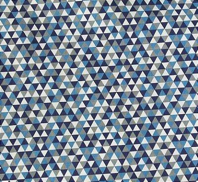 Tecido Tricoline Estampa Triângulos Coloridos - Azul Marinho, Azul Jeans e Cinza - Preço de 50 cm x 150 cm