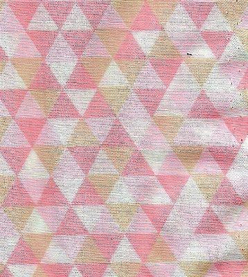 Tecido Tricoline Estampa Triângulos Coloridos - Rosa, Branco e Bege - Preço de 50 cm x 150 cm