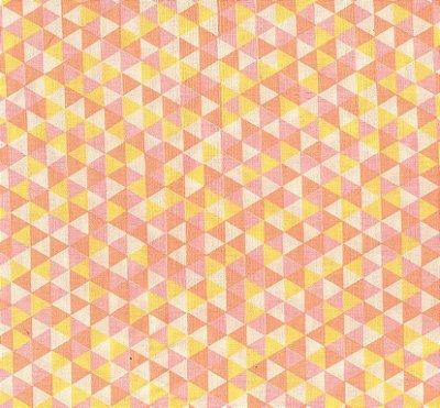 Tecido Tricoline Estampa Triângulos Coloridos - Rosa, Laranja e Amarelo - Preço de 50 cm x 150 cm