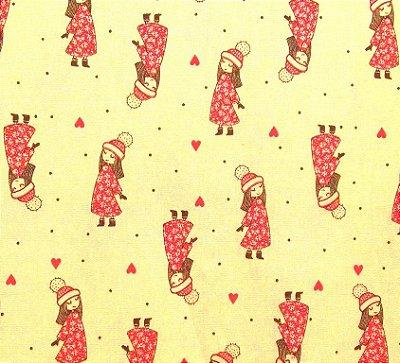 Tecido Tricoline Estampa Garota em Traje de Inverno - Fundo Creme - Preço de 50 cm x 150 cm