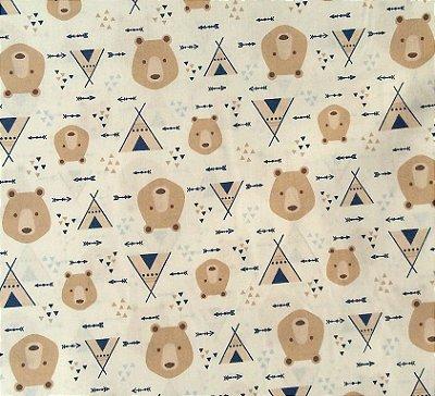 Tecido Tricoline Estampa Urso e Cabana Azul - Fundo Branco - Preço de 50 cm x 150 cm