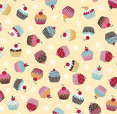 Tecido Tricoline Estampa de Cup Cakes (Fundo Creme) - Preço de 50 cm x 150 cm
