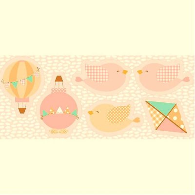 Tecido Tricoline - Pillows - Passarinho Rosa - Preço de 60 cm x 150 cm
