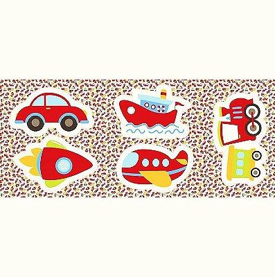 Tecido Tricoline - Pillows - Transportes: Avião, Navio, Foguete, Trem, Carro - Preço de 60 cm x 150 cm