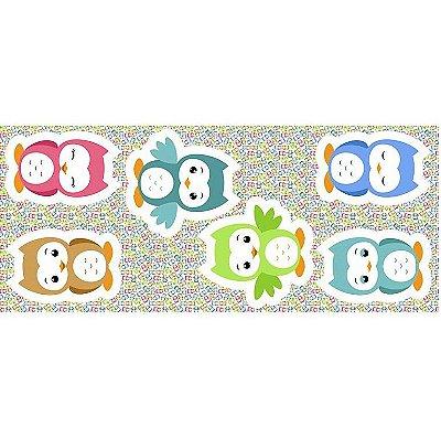 Tecido Tricoline - Pillows - Corujas Coloridas - Preço de 60 cm x 150 cm