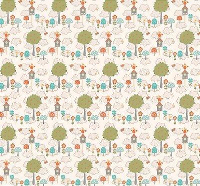 Tecido Tricoline Estampado Florestinha de Coruja - Fundo Creme - Coleção Festa na Floresta - Preço de 50cm x 150cm