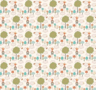 Tecido Tricoline Estampado Florestinha de Coruja - Fundo Salmão - Coleção Festa na Floresta - Preço de 50cm x 150cm