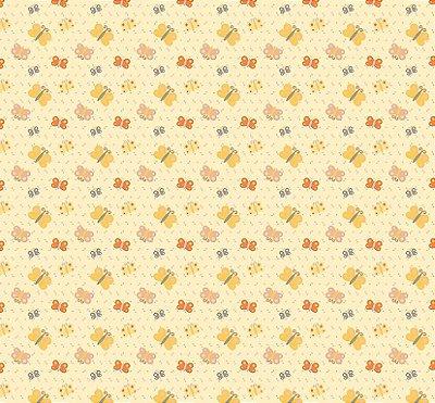 Tecido Tricoline Estampado Borboletinhas - Fundo Amarelo Claro - Coleção Festa na Floresta - Preço de 50cm x 150cm