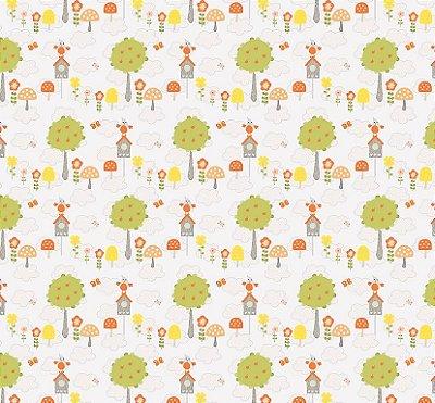 Tecido Tricoline Estampado Florestinha de Coruja - Fundo Cinza - Coleção Festa na Floresta - Preço de 50cm x 150cm