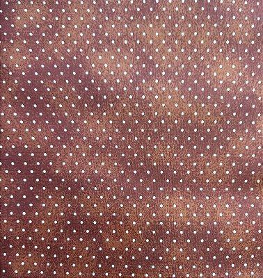 Tecido Tricoline Poeirinha e Poá Branco - Fundo Marrom - Preço de 50 cm X 146 cm